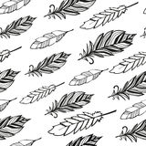 Seamless pattern. Hand drawn bird black feathers Stock Images