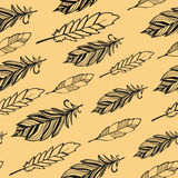 Seamless pattern. Hand drawn bird black feathers Stock Photos