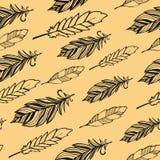 Seamless pattern. Hand drawn bird black feathers Stock Photos