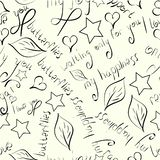 Seamless pattern of hand drawn black silhouettes of flowers,leaves,stars and love phrases on beige background. stock illustration