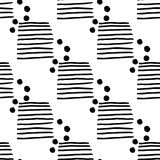 Seamless pattern with hand-drawn black-white lines and circles. EPS 10 Royalty Free Illustration