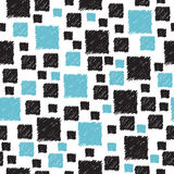 Seamless pattern with hand drawn blue and black abstract squares Stock Photo