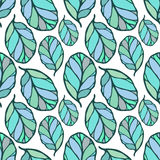 Seamless pattern with hand drawn blue and green leaves on the white background. Fabric, wallpaper, wrapping. Spring, summer doodle Stock Photo