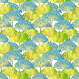 Seamless pattern with hand drawn blue and green umbrellas with white circles on white background Royalty Free Stock Photo