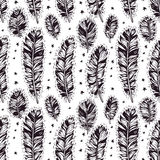 Seamless pattern of hand drawn boho feather Royalty Free Stock Photography