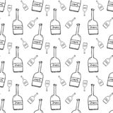 Seamless pattern hand drawn bottles. Doodle black sketch. Sign s vector illustration