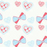 Seamless pattern with hand drawn bows and hearts.Delicate pastel Stock Photo