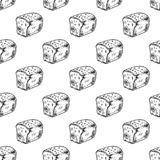 Seamless pattern hand drawn bread. Doodle black sketch. Sign symbol. Decoration element. Isolated on white background. Flat stock illustration