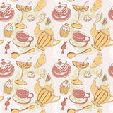 Seamless pattern with hand drawn breakfast food elements Stock Photo