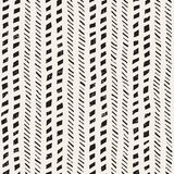 Seamless pattern with hand drawn brush strokes. Ink doodle illustration. Geometric monochrome vector pattern. Royalty Free Stock Photography