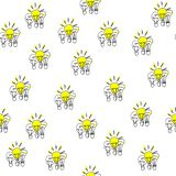 Seamless pattern. Hand drawn bulbs trios. Electricity theme. Also a concept of leadership and success stock illustration