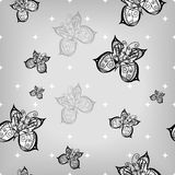Seamless pattern of hand-drawn butterflies on grey Royalty Free Stock Photos