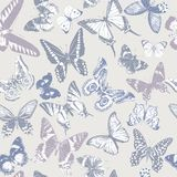 Seamless pattern with hand drawn butterflies royalty free stock images