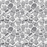 Seamless pattern with hand drawn cactus. Royalty Free Stock Photography