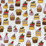 Seamless pattern of hand drawn cakes, desserts Royalty Free Stock Images