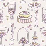 Seamless pattern with hand drawn candy bar objects Stock Photos