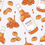 Seamless pattern with hand drawn caramel and bourbon whiskey flavor Stock Photo