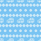 Seamless pattern with hand drawn cars, squares and circles. Royalty Free Stock Images