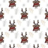 Seamless pattern with hand drawn cartoon bird in clothes and branches. Christmas animals pattern. Cute cartoon illustration. vector illustration