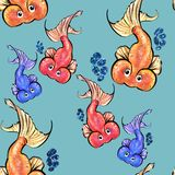 SEAMLESS PATTERN WITH HAND DRAWN CARTOON FISHES ON BLUE BACKGROUND stock photo