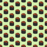 Seamless pattern with hand-drawn cartoon japanese food icon - sushi with caviar. Doodle drawing. Vector illustration  Stock Photos