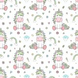 Seamless pattern of hand-drawn cartoon unicorns with rainbow, clouds, diamonds, hearts. Vector background image for holiday, baby vector illustration