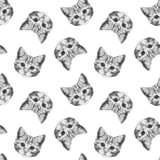 Seamless pattern with hand-drawn Cat. Royalty Free Stock Image