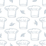 Seamless pattern with hand drawn chef hat. Kitchen Stock Photos