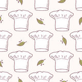 Seamless pattern with hand drawn chef hat. Kitchen background Royalty Free Stock Photos
