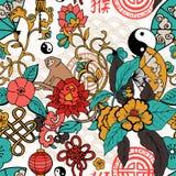 Seamless pattern, hand drawn china elements Stock Photos
