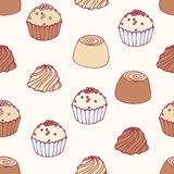 Seamless pattern with hand drawn chocolate candies Stock Photos