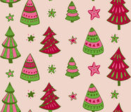 Seamless  pattern with hand drawn Christmas elements: Xmas trees Royalty Free Stock Photos