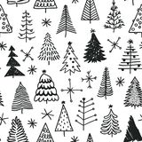 Seamless pattern with hand drawn Christmas tree.   Stock Photo