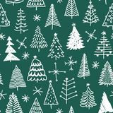 Seamless pattern with hand drawn Christmas tree.  Stock Photos
