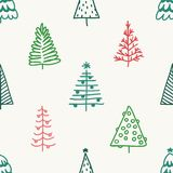 Seamless pattern with hand drawn Christmas tree Stock Photos