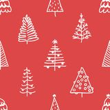 Seamless pattern with hand drawn Christmas tree.  Royalty Free Stock Images