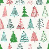 Seamless pattern with hand drawn Christmas tree.   Royalty Free Stock Photography
