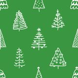 Seamless pattern with hand drawn Christmas tree.  Royalty Free Stock Photos