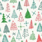 Seamless pattern with hand drawn Christmas tree.  Stock Photography