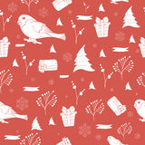 Seamless pattern with hand drawn Christmas tree, snowflake and bullfinch for winter holidays Vintage  New Year design Royalty Free Stock Image