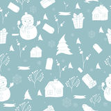 Seamless pattern with hand drawn Christmas tree, snowflake and bullfinch for winter holidays Vintage  New Year design Royalty Free Stock Photo