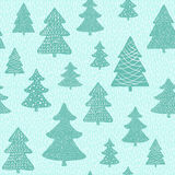 Seamless pattern with hand drawn christmas trees Royalty Free Stock Images