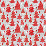 Seamless pattern with hand drawn christmas trees Stock Photo