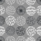 Seamless pattern with hand drawn circle doodle stylish elements. Stock Images