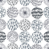 Seamless pattern with hand drawn circle doodle stylish elements. Royalty Free Stock Photography