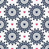 Seamless pattern with hand drawn circles and hearts. Ornate floral endless Hipster background. Can be used for wallpaper, pattern Stock Image