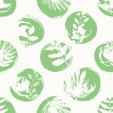 Seamless pattern with hand drawn circles and leaves. Vector illustration Stock Image