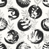 Seamless pattern with hand drawn circles and leaves. Vector illustration Stock Illustration