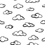 Seamless pattern with hand drawn clouds. Vector stock illustration