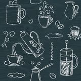 Seamless pattern with hand drawn coffee items Royalty Free Stock Photos